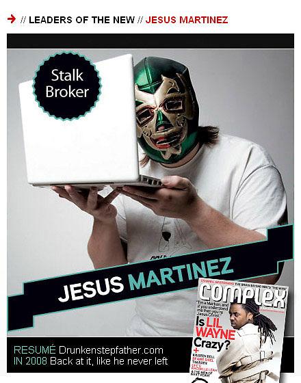 Portrait of entertainment blogger Jesus Martinez for Complex Magazine. 2008.