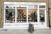 Artisan shop In East London on 18th November 2015 in London, United Kingdom. Here Today Here Tomorrow is a London design collective and fair trade fashion store based in East London.
