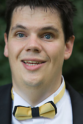 Visually impaired bridegroom.