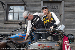 Author and Hall of Fame inductee Cris Simmons with her husband Pat Simmons, a founding member of the Doobie Brothers, at the Harley-Davidson Museum, where the multi-acre campus acted as the central rally point during the Harley-Davidson 115th Anniversary Celebration event. Milwaukee, WI. USA. Sunday September 2, 2018. Photography ©2018 Michael Lichter.
