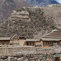 View on the ruins and the fortifications of Ollantaytambo.