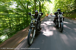 Danger Dan Hardick and Naco Chris on a Sunday chopper ride on the beautiful roads near the Tennessee Motorcycles and Music Revival. Hurricane Mills, TN, USA. May 23, 2021. Photography ©2021 Michael Lichter.