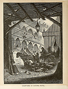 Courtyard of Victoria Hotel From the book ' The viking Bodleys; an excursion into Norway and Denmark ' by Horace Elisha Scudder Published in Boston, by Houghton, Mifflin and Company in 1885 from the BODLEY FAMILY series of books