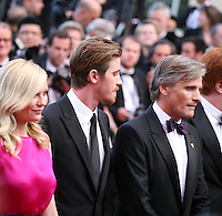 Kirsten Dunst, Garret Hedlund, Viggo Mortensen, at the On The Road gala screening red carpet at the 65th Cannes Film Festival France. The film is based on the book of the same name by beat writer Jack Kerouak and directed by Walter Salles. Wednesday 23rd May 2012 in Cannes Film Festival, France.