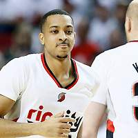 25 April 2016: Portland Trail Blazers guard C.J. McCollum (3) is seen next to Portland Trail Blazers center Chris Kaman (35) during the Portland Trail Blazers 98-84 victory over the Los Angeles Clippers, during Game Four of the Western Conference Quarterfinals of the NBA Playoffs at the Moda Center, Portland, Oregon, USA.