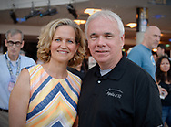 Garden City, New York, U.S. July 20, 2019. L-R, Nassau County Executive LAURA CURRAN and ANDREW PARTON, the President of Cradle of Aviation Museum, pose at the Moon Fest Apollo at 50 Countdown Celebration at CAM in Long Island, held during the same time Apollo 11 Lunar Module landed on the Moon 50 years ago.
