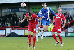 Peterborough United's Grant McCann in action with Crawley Town's Jamie Proctor - Photo mandatory by-line: Joe Dent/JMP - Tel: Mobile: 07966 386802 01/03/2014 - SPORT - FOOTBALL - Crawley - Broadfield Stadium - Crawley Town v Peterborough United - Sky Bet League One