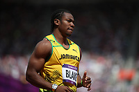 OL 2012 London<br /> Friidrett<br /> Foto: Imago/Digitalsport<br /> NORWAY ONLY<br /> <br /> 04.08.2012<br /> Yohan Blake of Jamaica runs during the men s 100m round 1 heats at London 2012 Olympic Games, London, Britain, Aug. 4, 2012. Asafa Powell was qualified for the semifinal with a time of 10.04 seconds. Yohan Blake was qualified for the semifinal with a time of 10.00