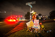 """Makeshift-memorial for former NFL player  Joe McKnight who was shot to death by Ronald Gasser at the intersection of Behrman Highway and Holmes Boulevard in Terrytown. Gasser, was released  by the Jefferson Parish Sheriff's Office after questioning with no charges pressed  prompting outrage. Jefferson Parish Sheriff's Office  described  the killing as a """"road rage"""" incident. In another road rage incident in New Orleans last year, Cardell Hayes shot another former NFL player, Will Smith to death. Like Gasser he waited for the police and explained what happened. Unlike Gasser, Hayes is African American, and has been in Jail since the shooting pending trial. Jefferson Parish Sheriff Newell Normand insists his decision to let Gasser go home had nothing to do with race."""