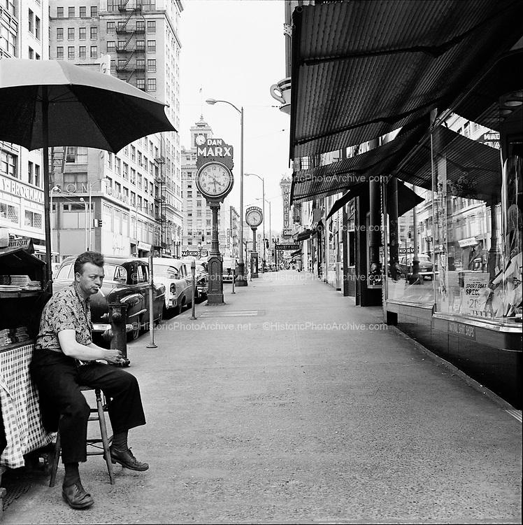 Y-580704-19.  SW Broadway downtown Portland July 4, 1958