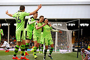 Wolverhampton players celebrate a goal from Wolverhampton Wanderers midfielder Dave Edwards (4)(score 1-3) during the EFL Sky Bet Championship match between Fulham and Wolverhampton Wanderers at Craven Cottage, London, England on 18 March 2017. Photo by Andy Walter.