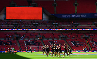 Lincoln City players during the pre-match warm-up<br /> <br /> Photographer Chris Vaughan/CameraSport<br /> <br /> The EFL Sky Bet League One Play-Off Final - Blackpool v Lincoln City - Sunday 30th May 2021 - Wembley Stadium - London<br /> <br /> World Copyright © 2021 CameraSport. All rights reserved. 43 Linden Ave. Countesthorpe. Leicester. England. LE8 5PG - Tel: +44 (0) 116 277 4147 - admin@camerasport.com - www.camerasport.com