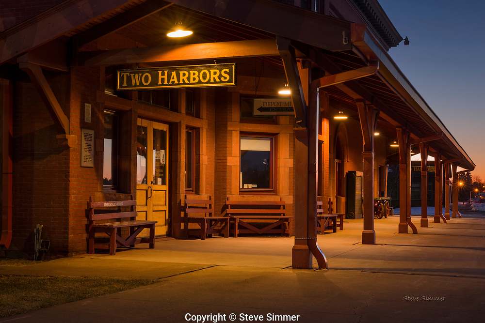Two Harbors, Minnesota. This historic train station is now a museum most of the time. In summer, a tourist train from Duluth visits daily.