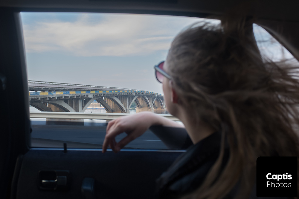 Driving towards the city center of Kyiv.