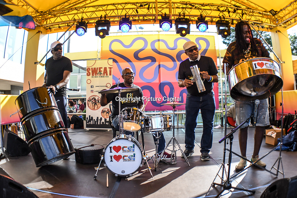 Steelpan group performs at Great Big Summer Weekend on 25 August 2018 at Royal Festival Hall, London, UK.