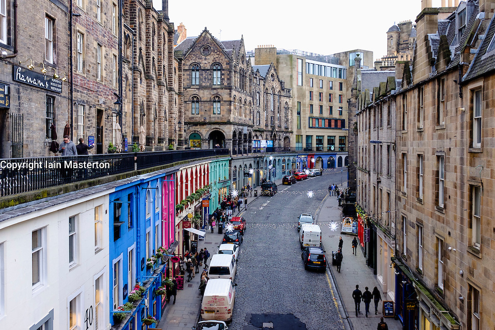Looking down on historic Victoria Street in Old Town of Edinburgh Scotland United Kingdom