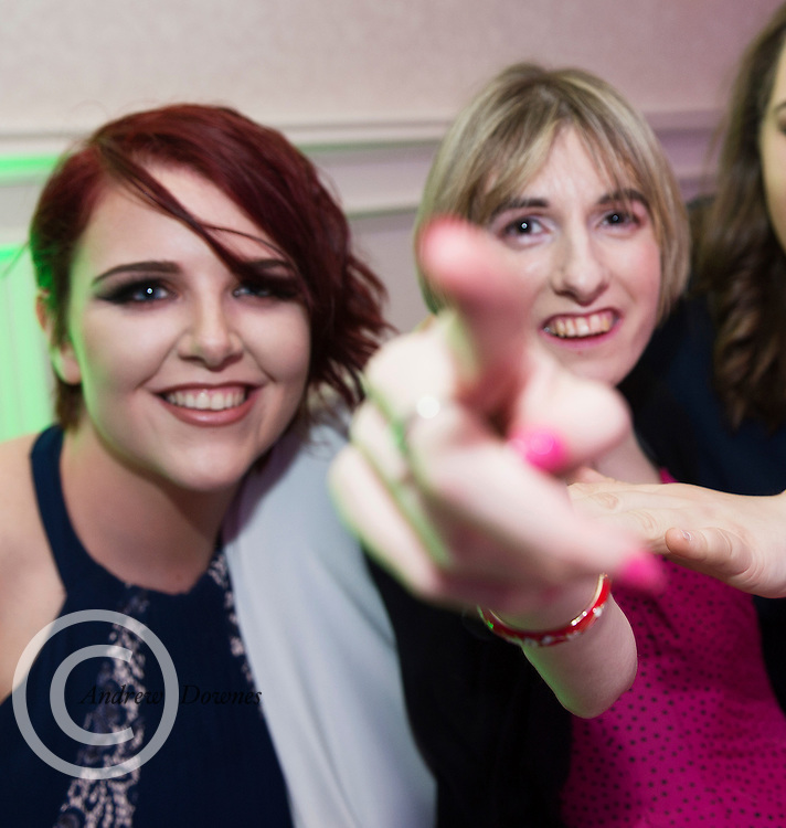 The Ability West Best Buddies Ball at the Menlo Park Hotel, Galway. Students from GMIT and NUIG buddy up with Ability West Service users for friendships that last a lifetime celebrated at this gala ball.<br /> Enjoying the night were Laura Hayes GMIT and Sinead Mannion. <br />  Photo:Andrew Downes, xposure.
