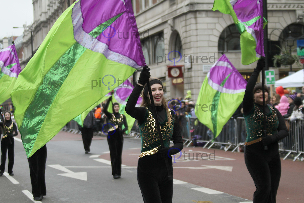 Corning-Painted Post West High Viking Marching Band London's New Year's Day Parade, City of Westminster, London, UK, 01 January 2011:  Contact: Ian@Piqtured.com +44(0)791 626 2580 (Picture by Richard Goldschmidt)