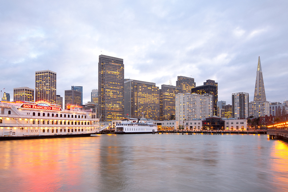 San Francisco, California, United States - Skyline of buildings at downtown from Embarcadero in Pier 7.