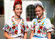 Young women in traditional Kalocsa dress at the paprka festival, Kalocsa, Hungary.<br /> <br /> .Visit our HUNGARY HISTORIC PLACES PHOTO COLLECTIONS for more photos to download or buy as wall art prints https://funkystock.photoshelter.com/gallery-collection/Pictures-Images-of-Hungary-Photos-of-Hungarian-Historic-Landmark-Sites/C0000Te8AnPgxjRg