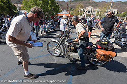 Ben Brown of Pennsylvania on his 1915 Harley-Davidson arrives at the hosted lunch stop at Temecula Harley-Davidson on the last day of the Motorcycle Cannonball Race of the Century. Stage-15 ride from Palm Desert, CA to Carlsbad, CA. USA. Sunday September 25, 2016. Photography ©2016 Michael Lichter.