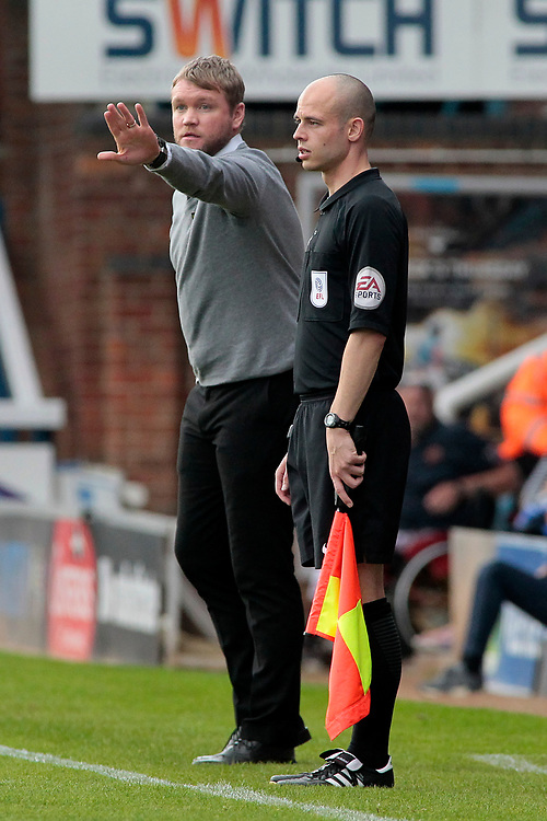 Peterborough United manager Grant McCann  shouts instructions to his team from the dug-out <br /> <br /> Photographer David Shipman/CameraSport<br /> <br /> The EFL Sky Bet League One - Peterborough United v Gillingham - Saturday 14th October 2017 - London Road Stadium - Peterborough<br /> <br /> World Copyright © 2017 CameraSport. All rights reserved. 43 Linden Ave. Countesthorpe. Leicester. England. LE8 5PG - Tel: +44 (0) 116 277 4147 - admin@camerasport.com - www.camerasport.com
