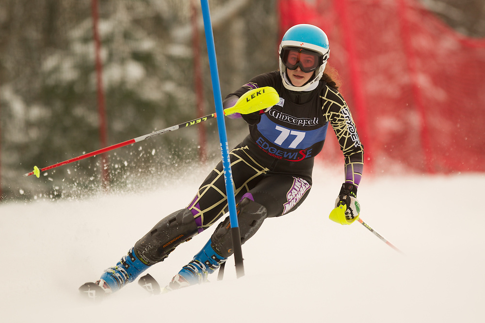 Willow Smith of Saint  Michael's College, skis during the first run of the women's slalom at the Colby College Carnival at Sugarloaf Mountain on January 18, 2014 in Carabassett Valley, ME. (Dustin Satloff/EISA)