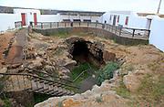 Cave tunnel entrance Cueva del Llano, La Oliva, Fuerteventura, Canary Islands, Spain