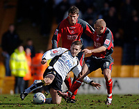 Photo: Glyn Thomas.<br />Port Vale v Swansea City. Coca Cola League 1. 08/04/2006.<br />Port Vale's Michael Cummins (L) battles for the ball with Andy Robinson.