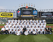 CHICAGO - SEPTEMBER 8:  Players and staff of the Chicago White Sox pose for their 2009 team photo on September 8, 2009 at U.S. Cellular Field in Chicago, Illinois.  FIRST ROW:  Batboys  SECOND ROW:  Assistant Trainer Brian Ball, Head Trainer Herm Schneider, Bullpen Catcher Mark Salas, Bench Coach Joey Cora, First Base Coach Harold Baines, Hitting Coach Greg Walker, General Manager Ken Williams, Manager Ozzie Guillen, Pitching Coach Don Cooper, Third Base Coach Jeff Cox, Bullpen Coach Juan Nieves, Batting Practice Pitcher Kevin Hickey, Director of Conditioning Allen Thomas, Director of Team Travel Ed Cassin  THIRD ROW:  Visiting Clubhouse Manager Gabe Morell, Assistant White Sox Clubhouse Manager Rob Warren, White Sox Clubhouse Manager Vince Fresso, Chris Getz, Carlos Torres, Josh Fields, Brent Lillibridge, Daniel Hudson, Jayson Nix, Jhonny Nunez, Computer Scouting Analyst Mike Gellinger, Assistant White Sox Clubhouse Manager Joe McNamara Jr.  FOURTH ROW:  Octavio Dotel, Gordon Beckham, John Danks, Mark Kotsay, Carlos Quentin, Paul Konerko, Mark Buehrle, Jake Peavy, Scott Podsednik, Ramon Castro, DeWayne Wise, Alexei Ramirez  FIFTH ROW:  Alex Rios, Freddy Garcia, Bobby Jenks, Randy Williams, A.J. Pierzynski, Matt Thornton, Tyler Flowers, Gavin Floyd, Scott Linebrink, D.J. Carrasco, Tony Pena, Jermaine Dye.  (Photo by Ron Vesely)