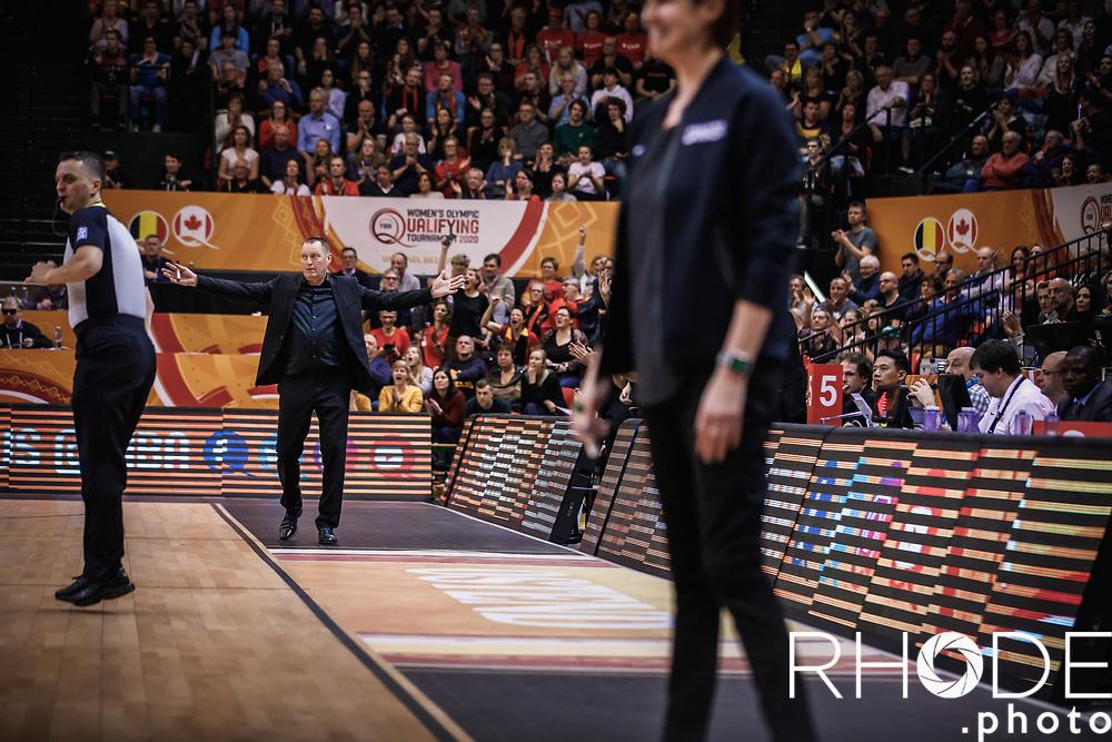 Coach Philip Mestdagh (BEL)<br /> <br /> Day 1 – CANADA (CAN) vs BELGIUM (BEL): 61-56<br /> <br /> FIBA Women's Olympic Qualifying Tournament 2020 – Ostend,  Belgium<br /> Ostend Versluys Dôme (BEL)<br /> <br /> ©RhodePhotoMedia