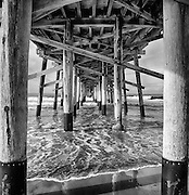 Looking Under the Newport Beach Pier Black and White