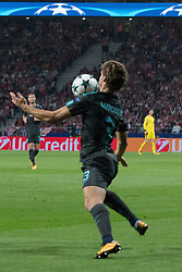 September 27, 2017 - Madrid, Madrid, Spain - Marcos Alonso controls the ball..Victory in the last seconds of the game for Chelsea by 1 to 2. Griezmann, Morata and Batshuayi makes the score. (Credit Image: © Jorge Gonzalez/Pacific Press via ZUMA Wire)