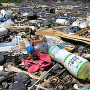 Plastic garbage piled up on a recreational beach in Yamaguchi Prefecture, Japan