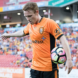 BRISBANE, AUSTRALIA - OCTOBER 30: Corey Brown of the roar waits to throw the ball in during the round 4 Hyundai A-League match between the Brisbane Roar and Perth Glory at Suncorp Stadium on October 30, 2016 in Brisbane, Australia. (Photo by Patrick Kearney/Brisbane Roar)