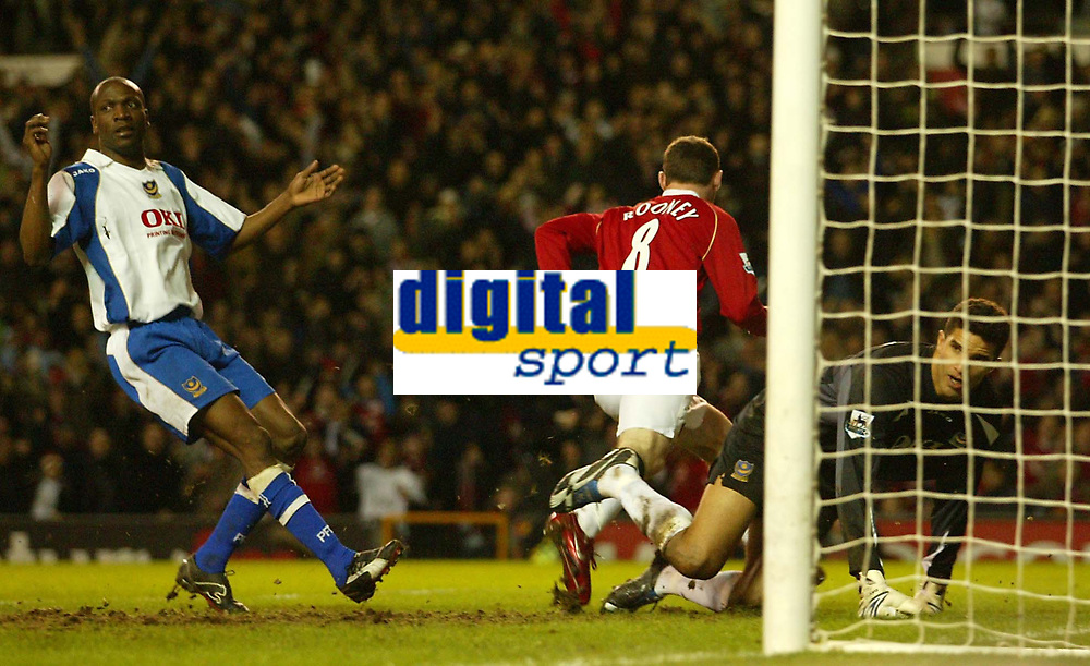 Photo: Aidan Ellis.<br /> Manchester United v Portsmouth. The FA Cup. 27/01/2007.<br /> Pompey's David James and Lauren look to the linesman for offside as United's Wayne Rooney runs away to celebrate after scoring the first goal