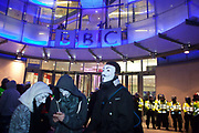 The BBC head quarter protected by police.The March of a Million Masks brought thousands of mostly masked protestors onto the streets of London. The march was in protest against the current govenrment and global internet state surveillance, and was held at Guy Fakes Night and called by the hacker group Anonymous.