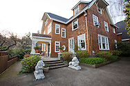 The Portland, Oregon home of Wendy Burden, author of  the memoir, Dead End Gene Pool. The lions are from Florham, her great-grandmother's childhood home. (The home and lions are on the front cover of her book)
