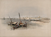St. Jean D'Acre (Saint John of Acre) , looking from the sea. Coloured lithograph by Louis Haghe after David Roberts, 1843