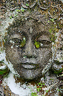 A moss covered stone carving in an Indonesian tropical park.<br /> Various scenes of the city of Jakarta in Indonesia.