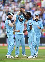 Cricket - 2019 ICC Cricket World Cup - Semi-Final: England vs. Australia<br /> <br /> England's Jofra Archer celebrates taking the wicket of Australia's Glenn Maxwell caught by England's Eoin Morgan for 22, at Edgbaston, Birmingham.<br /> <br /> COLORSPORT/ASHLEY WESTERN