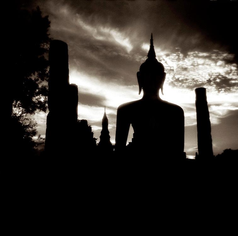 Buddha in Silhouette #1 - Wat Mahathat- Sukothai, Thailand
