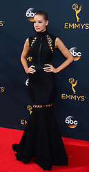 September 18, 2016 - Los Angeles, California, United States - Stephanie Corneliussen arrives at the 68th Annual Emmy Awards at the Microsoft Theater in Los Angeles, California on Sunday, September 18, 2016. (Credit Image: © Michael Owen Baker/Los Angeles Daily News via ZUMA Wire)