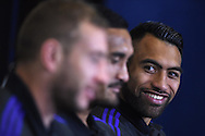 Victor Vito of New Zealand(r) talks to the media.Rugby World Cup 2015 , New Zealand Allblacks player media session at the Hilton Hotel in Cardiff , South Wales on Monday 28th September 2015. The Allblacks are in Cardiff preparing for their next pool match against Georgia on Friday night.<br /> pic by  Andrew Orchard, Andrew Orchard sports photography.