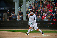 KELOWNA, CANADA - JUNE 28: Retired NHL player Josh Gorges hits the ball during the opening charity game of the Home Base Slo-Pitch Tournament fundraiser for the Kelowna General Hospital Foundation JoeAnna's House on June 28, 2019 at Elk's Stadium in Kelowna, British Columbia, Canada.  (Photo by Marissa Baecker/Shoot the Breeze)
