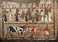 Ancient Egyptian wall paintings of the Tomb of Iti and Neferu, Mourning Scene, Thebes, First Intermediate Period (2118 – 1980BC). Egyptian Museum, Turin. Schiapelli excavations cat 1435.<br /> <br /> In the lower register a cattle driver leads two cattle of different colours.<br /> These tempera paintings were on a crude mud and straw plaster and were of typical Old Kingdom tombs showing ritual offering scenes. The tomb was partly cut into rock with mud brick walls and vaults. The facade of the tomb had 16 columns looking over a courtyard sloping towards the valley. .<br /> <br /> If you prefer to buy from our ALAMY PHOTO LIBRARY  Collection visit : https://www.alamy.com/portfolio/paul-williams-funkystock/ancient-egyptian-art-artefacts.html  . Type -   Turin   - into the LOWER SEARCH WITHIN GALLERY box. Refine search by adding background colour, subject etc<br /> <br /> Visit our ANCIENT WORLD PHOTO COLLECTIONS for more photos to download or buy as wall art prints https://funkystock.photoshelter.com/gallery-collection/Ancient-World-Art-Antiquities-Historic-Sites-Pictures-Images-of/C00006u26yqSkDOM