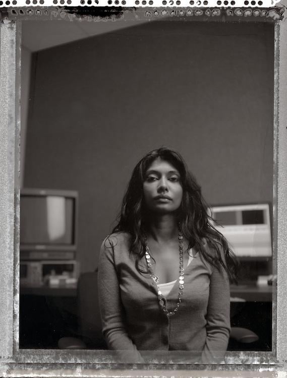 Washington, DC - U.S.A..Filmmaker Roshini Thinakaran photographed at her editing studio In Washington, DC on Tuesday, Aug. 12, 2008...Photo by Jay Westcott, Freelance.