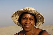 Turkey July 28 2011: Lorna Brooks at the top of Nemrut Dagi.  Copyright 2011 Peter Horrell