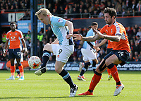 Blackpool's Mark Cullen shields possession from Luton Town's Jack Marriott<br /> <br /> Photographer David Shipman/CameraSport<br /> <br /> The EFL Sky Bet League Two - Luton Town v Blackpool - Saturday 1st April 2017 - Kenilworth Road - Luton<br /> <br /> World Copyright © 2017 CameraSport. All rights reserved. 43 Linden Ave. Countesthorpe. Leicester. England. LE8 5PG - Tel: +44 (0) 116 277 4147 - admin@camerasport.com - www.camerasport.com