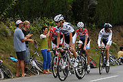 France, Talloire, 22 July 2009: Team Saxo Bank riders ride up Côte de Bluffy before the start of Stage 18. Images from Stage 18 - a 40.5 km Annecy to Annecy individual time trial. Photo by Peter Horrell / http://peterhorrell.com .
